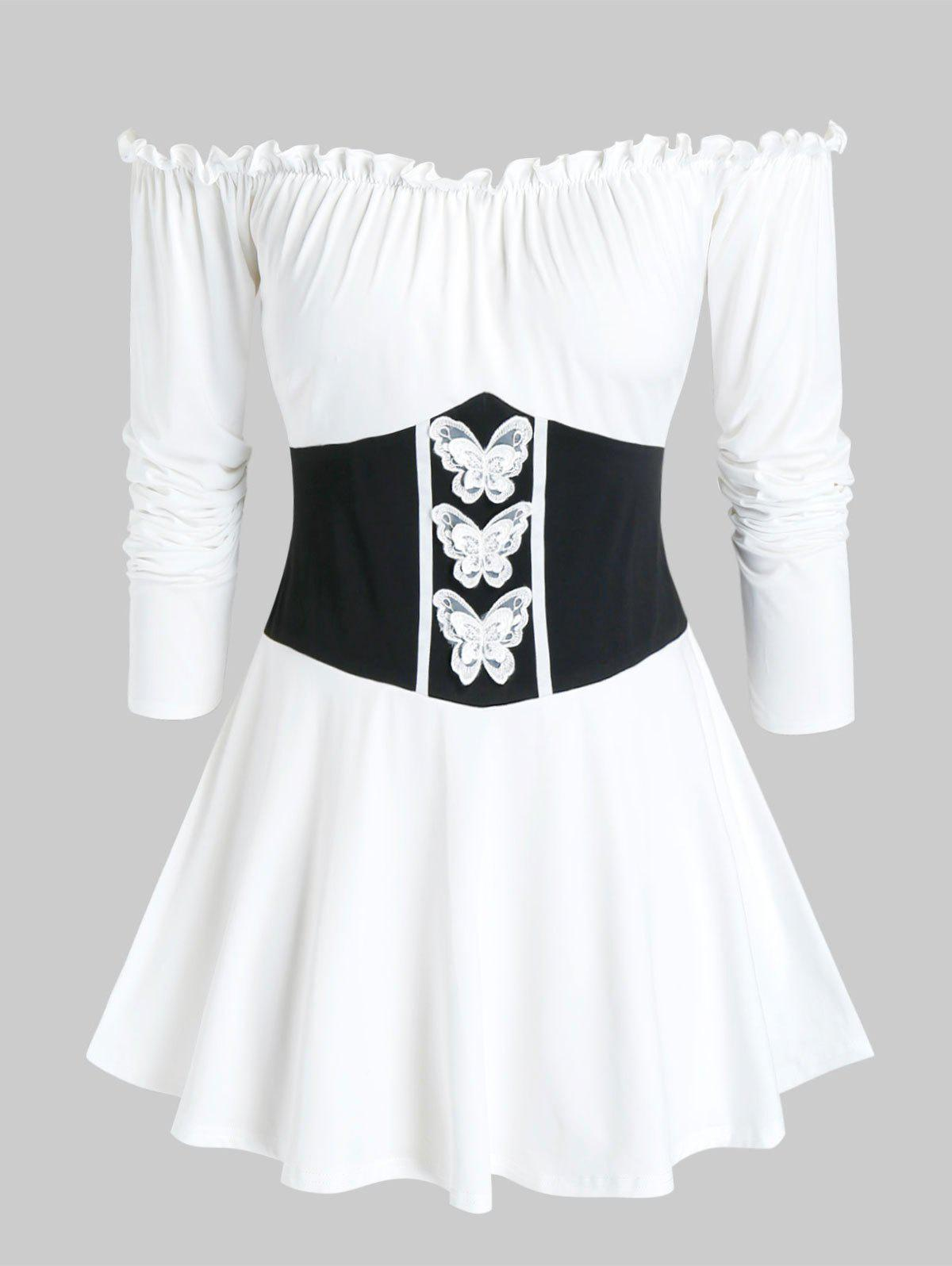 Sale Plus Size Frilled Off Shoulder Butterfly Waisted Tunic Tee