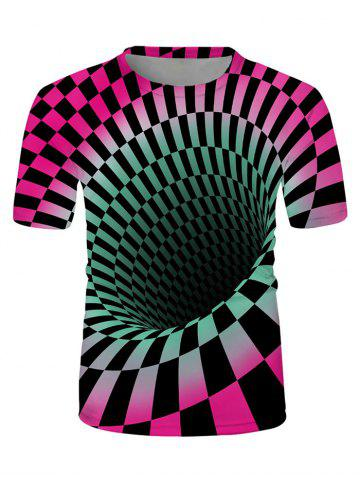 Checked Spiral Graphic Crew Neck Lounge T Shirt - MULTI - L