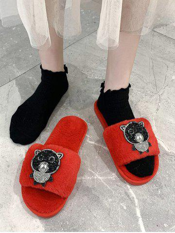 Rhinestone Bear Pattern Plush Outdoor Slippers - CHESTNUT RED - EU 37