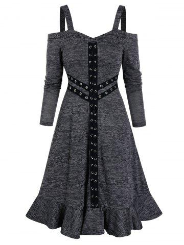 O Ring Lace Up Space Dye Dress - DARK GRAY - M