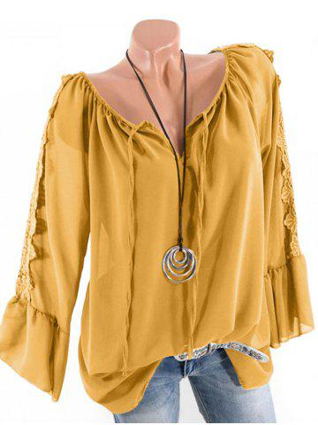 Plus Size Multiway Flare Sleeve Guipure Insert Blouse