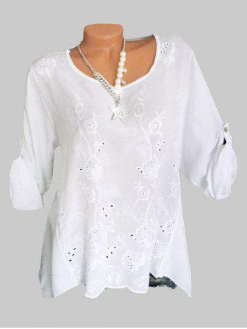 Plus Size Flower Embroidered Roll Tab Sleeve Tunic Blouse - WHITE - 4X