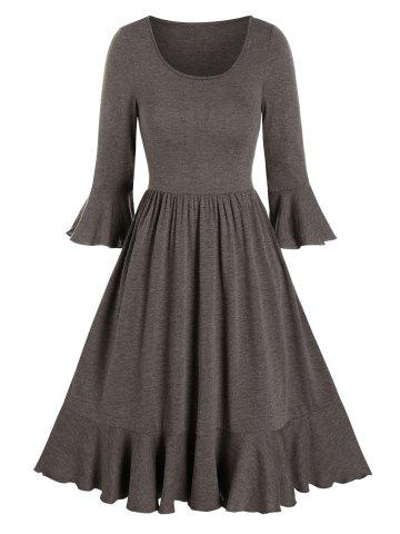 Solid Round Neck Flounce A Line Dress