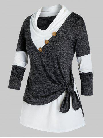 Plus Size Knotted Marled 2fer T-shirt