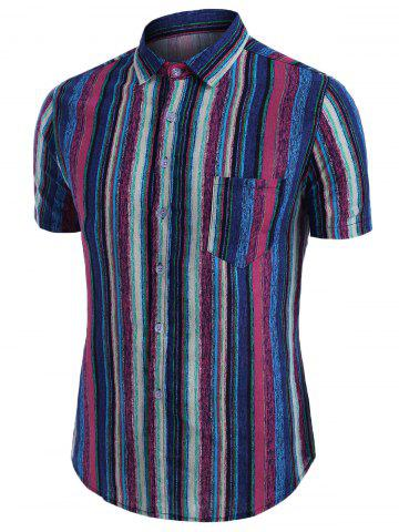 Colorful Vertical Striped Pocket Button Up Linen Shirt - BLUE - XL