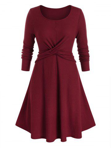 Plus Size Front Cross Pleated Dress - RED WINE - 2X