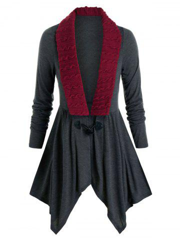 Plus Size Horn Button Cable Knit Insert Handkerchief Cardigan