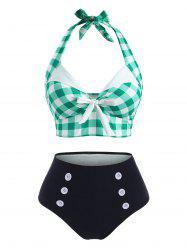 Gingham Bowknot Button Embellished Halter Tankini Swimwear -