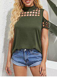 Laser Cutout Overlap Open Back High Neck Top -