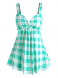 Plus Size Plaid Knot Tank Top -
