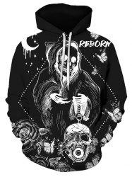 Halloween Butterfly Skull Graphic Front Pocket Drawstring Hoodie -