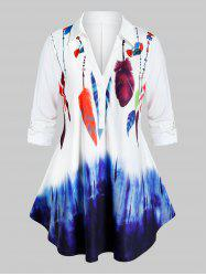 Plus Size Feather Print Turn-down Collar Blouse -