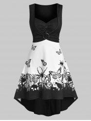 Skull Butterfly Print O-ring Ruched Sleeveless High Low Dress -