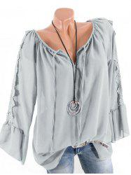 Plus Size Multiway Flare Sleeve Guipure Insert Blouse -