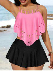 Hollow Out Padded Skirted Tankini Swimwear -