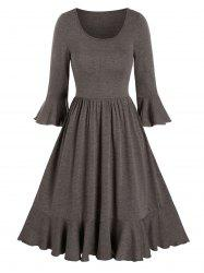 Solid Round Neck Flounce A Line Dress -
