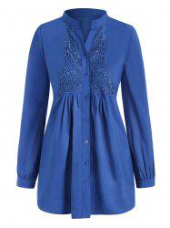 Plus Size Butterfly Lace Panel Button Up Shirt -