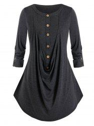 Plus Size Roll Tab Sleeve Buttons T-shirt -