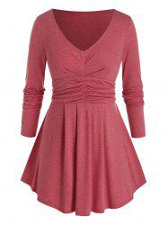 Plus Size Ruched Curved Hem Long Sleeve Tunic Tee -