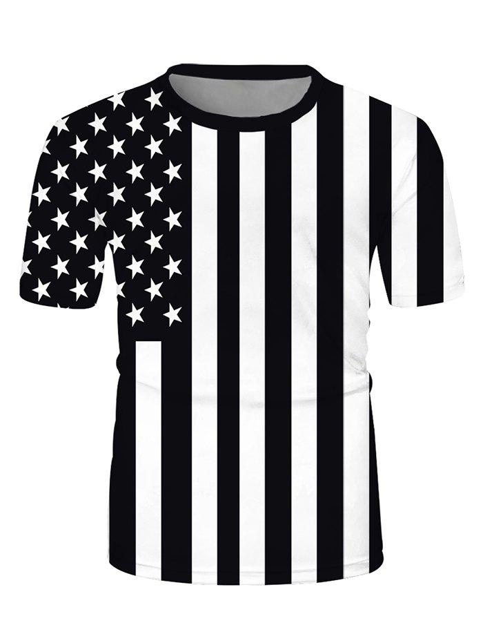 Latest Contrast American Flag Print Crew Neck Casual T Shirt