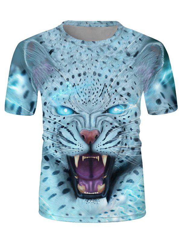 New Leopard Graphic Crew Neck Short Sleeve Casual T Shirt