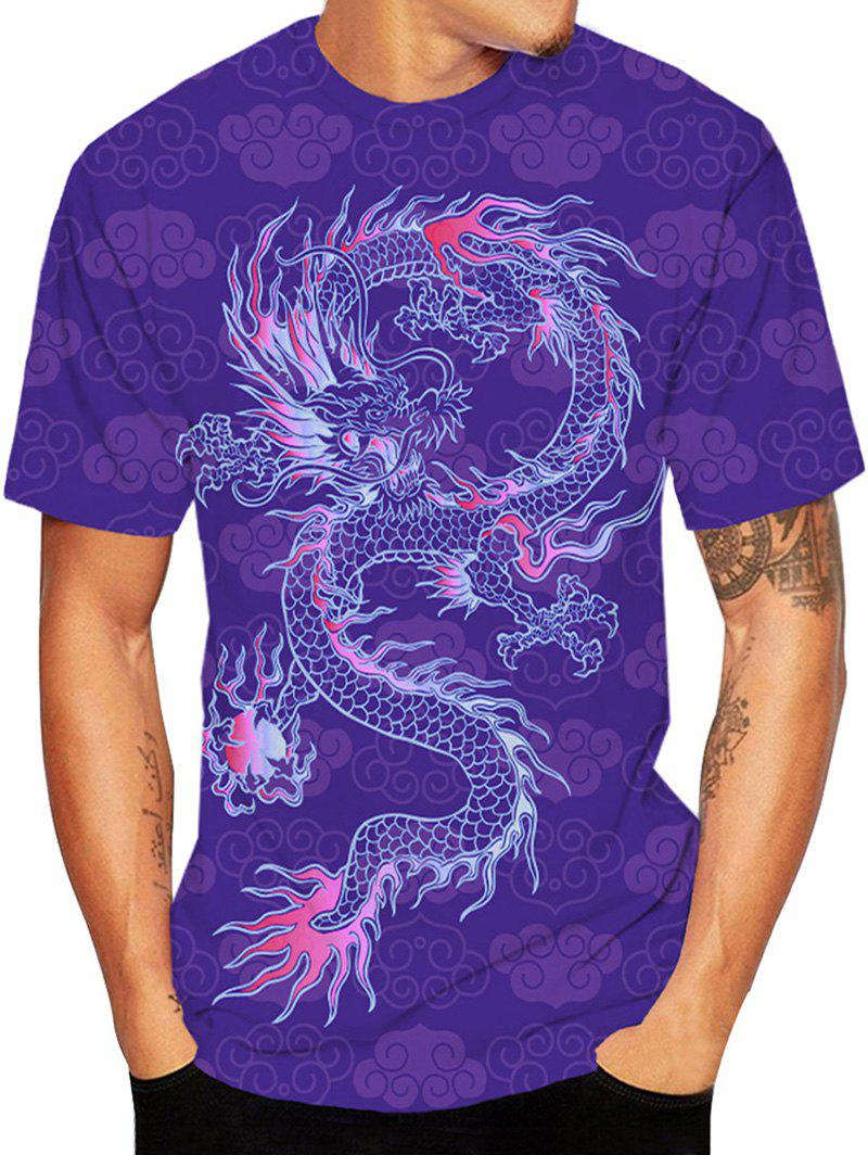 Sale Dragon Oriental Printed Short Sleeve T-shirt