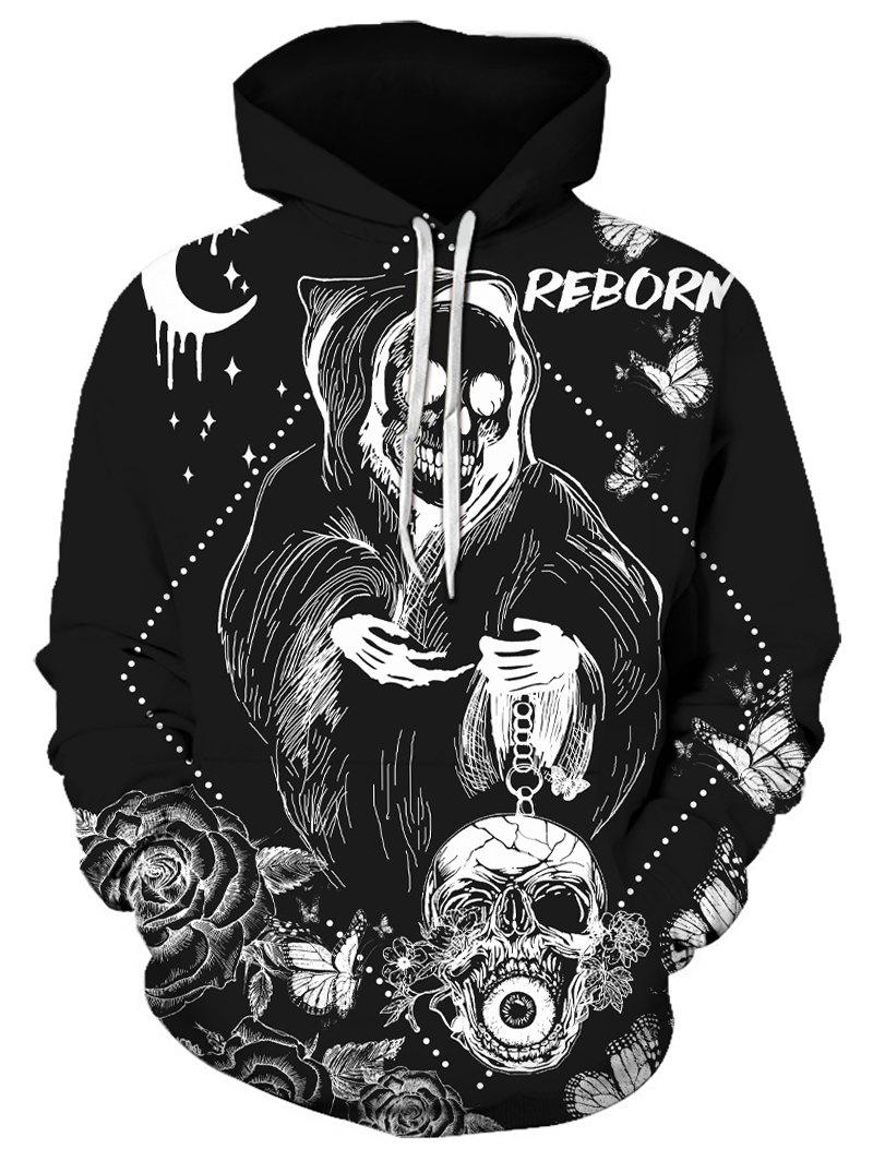 Best Halloween Butterfly Skull Graphic Front Pocket Drawstring Hoodie