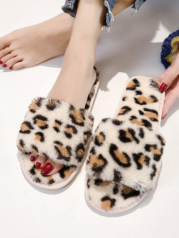 Affordable Outdoor Leopard Pattern Plush Flat Slippers