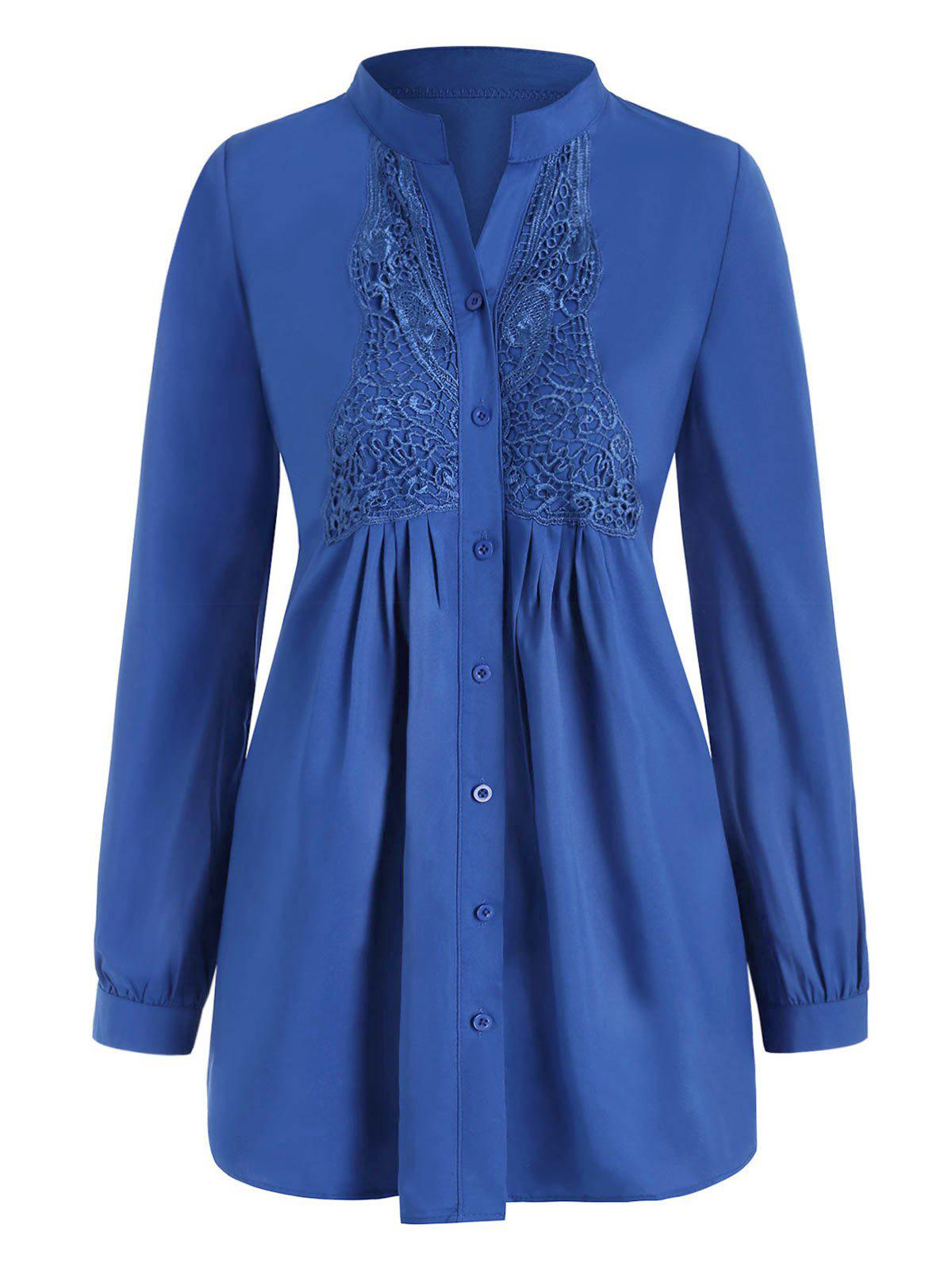 Hot Plus Size Butterfly Lace Panel Button Up Shirt