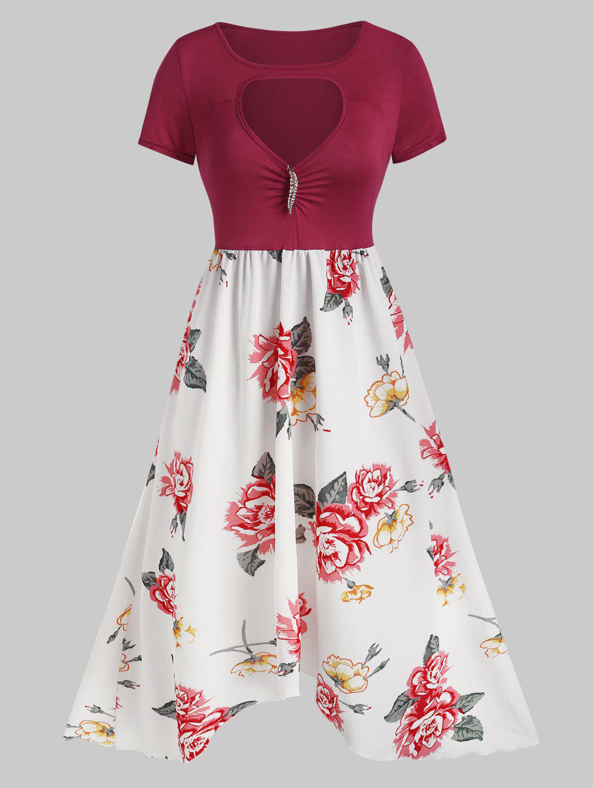 Best Floral Print Cut Out Brooch Embellished Dress
