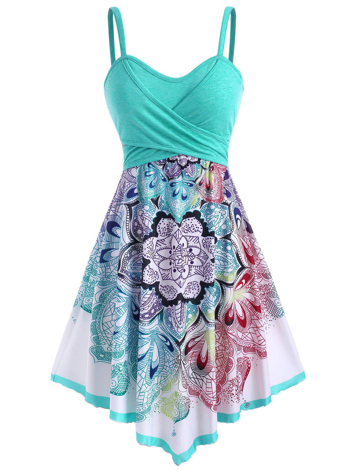 Bohemian Flower Crossover Sleeveless Dress фото