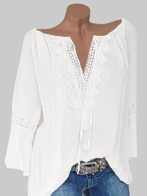 Plus Size Lace Crochet Peasant Blouse фото