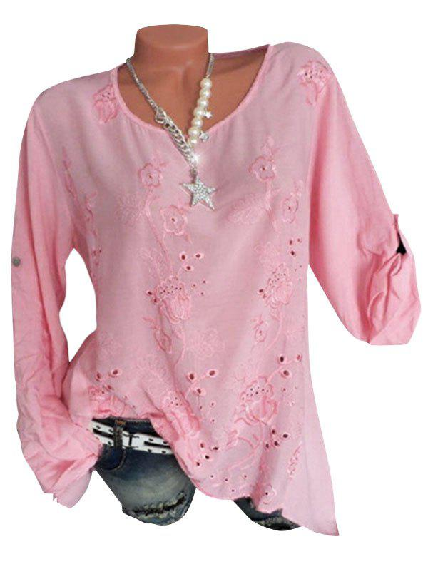 Affordable Plus Size Flower Embroidered Roll Tab Sleeve Tunic Blouse