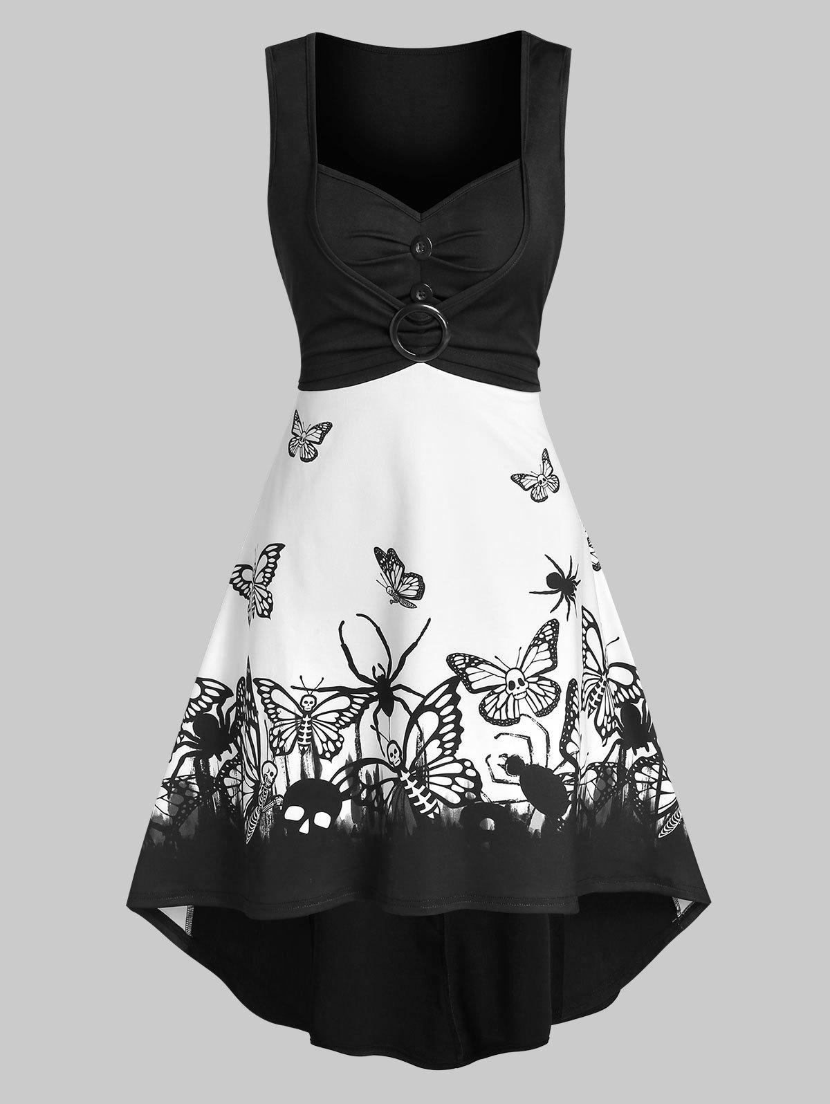 Fancy Skull Butterfly Print O-ring Ruched Sleeveless High Low Dress