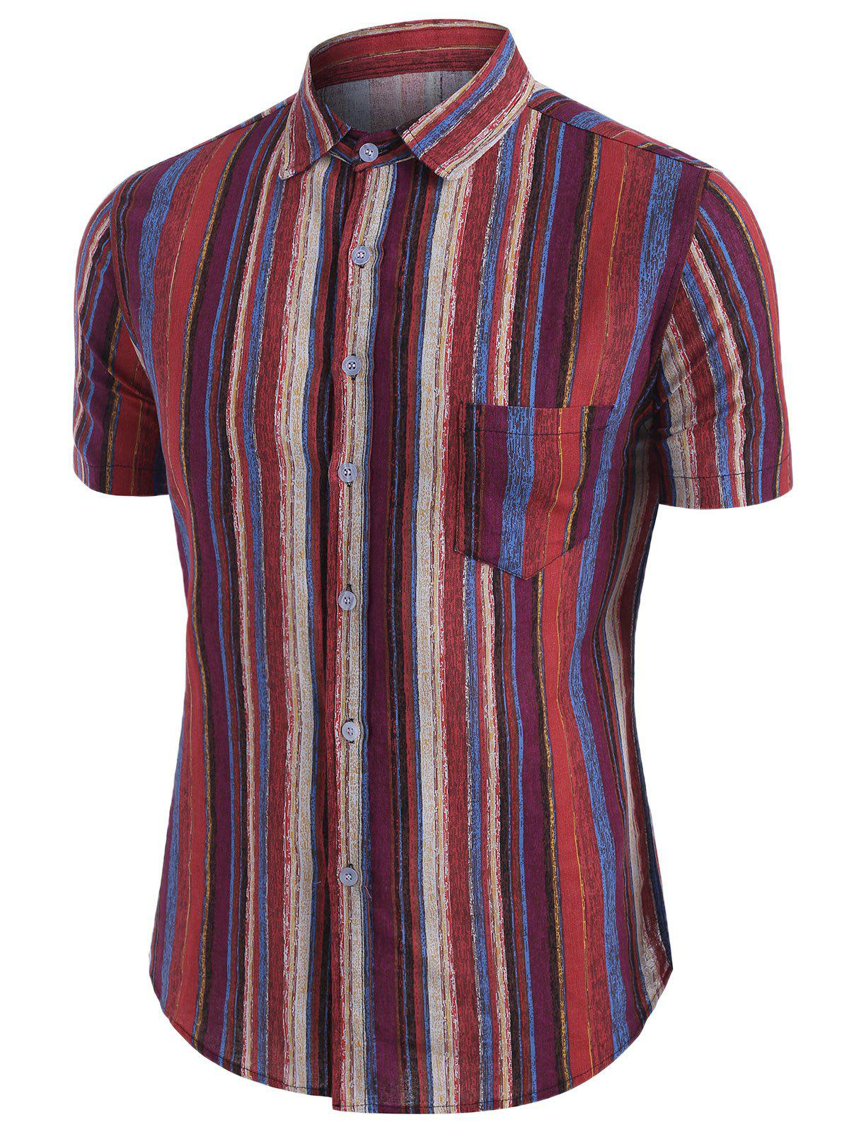 Outfit Colorful Vertical Striped Pocket Button Up Linen Shirt