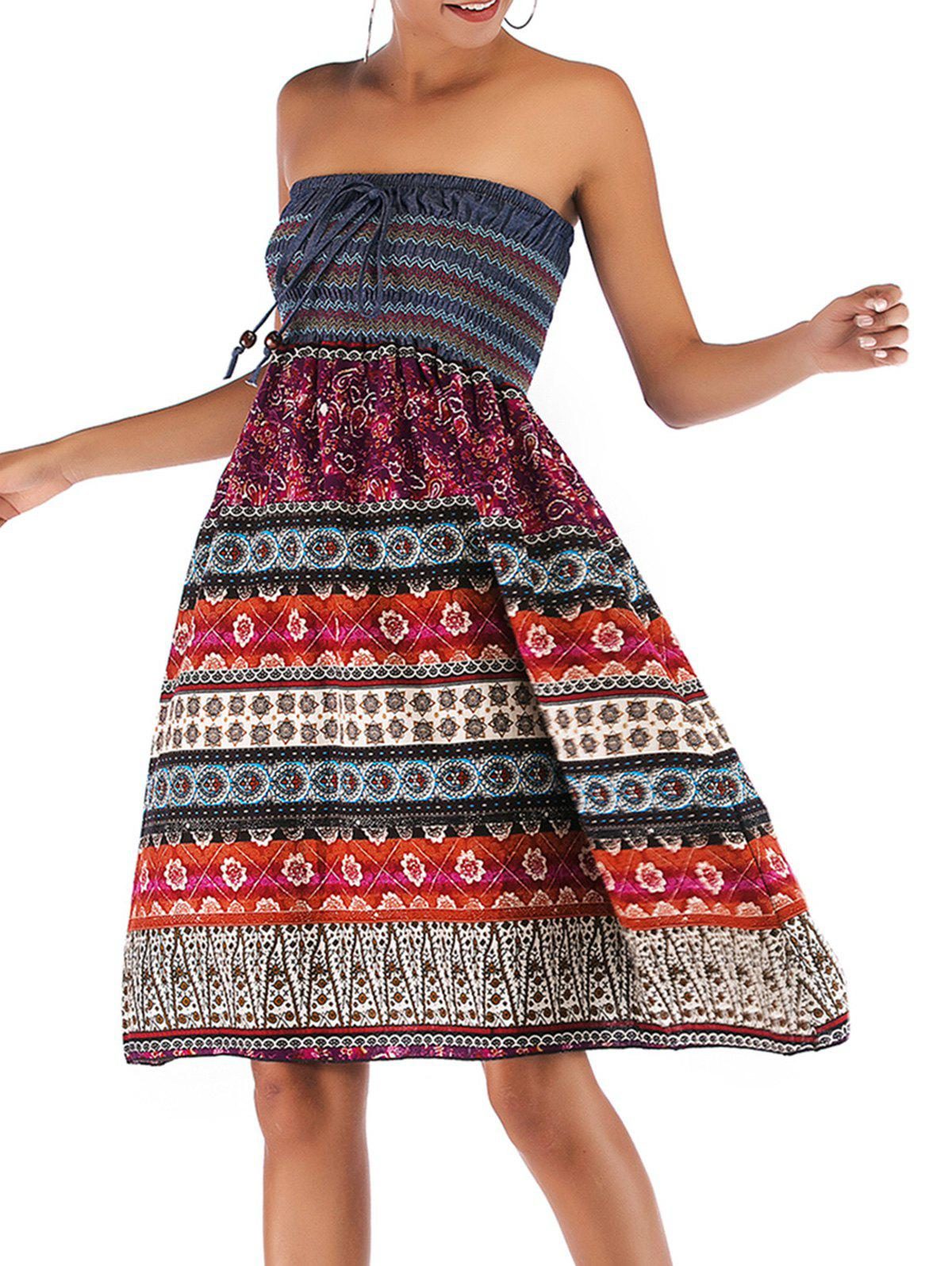 Affordable Bohemian Printed Convertible Shirred Strapless Dress