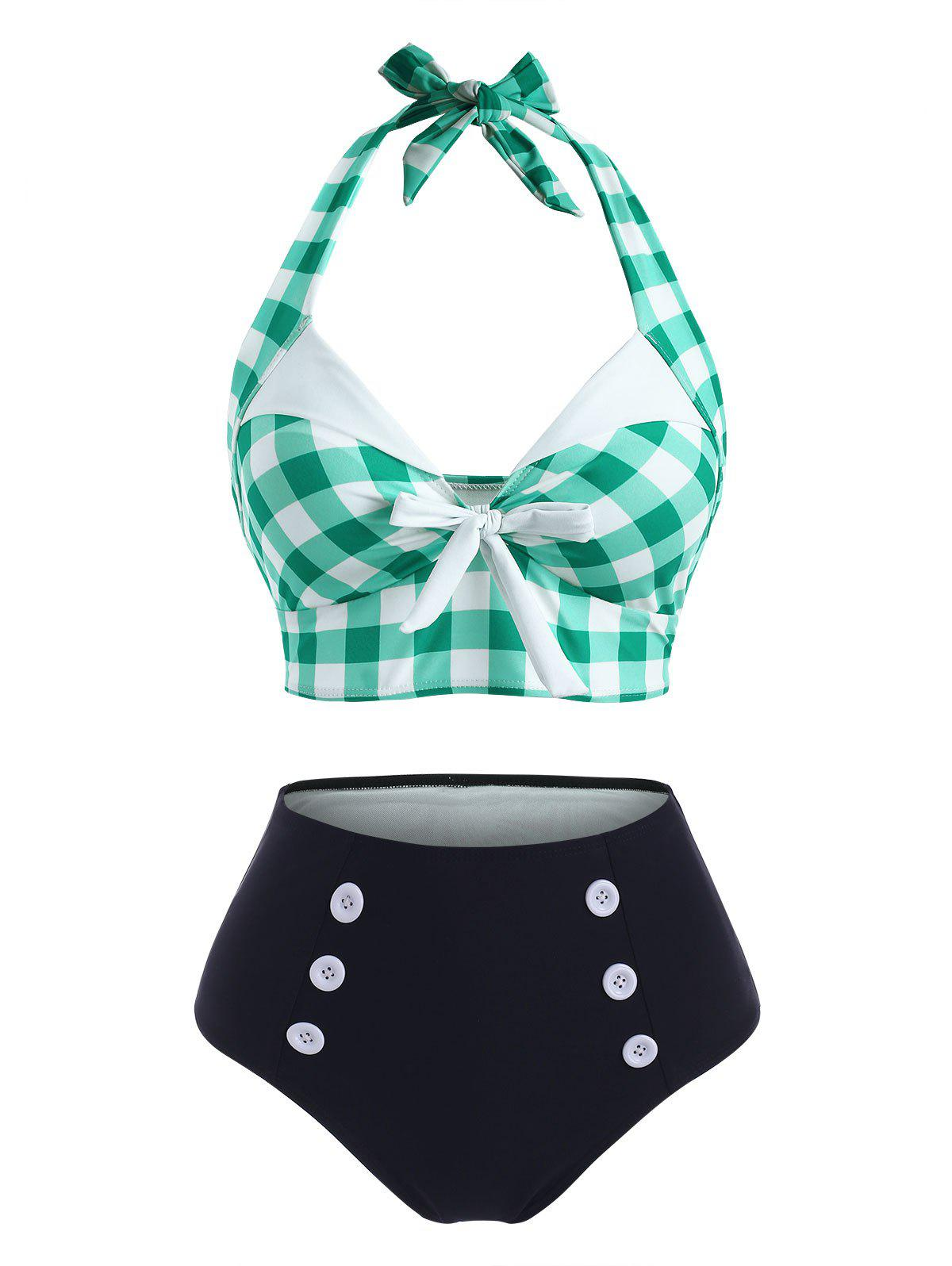 Shop Gingham Bowknot Button Embellished Halter Tankini Swimwear