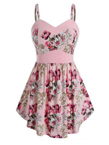 Plus Size Sweetheart Neck Floral Print Tank Top - PIG PINK - L