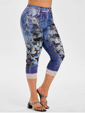 3D Print Lace Trim Floral Butterfly Plus Size Capri Jeggings