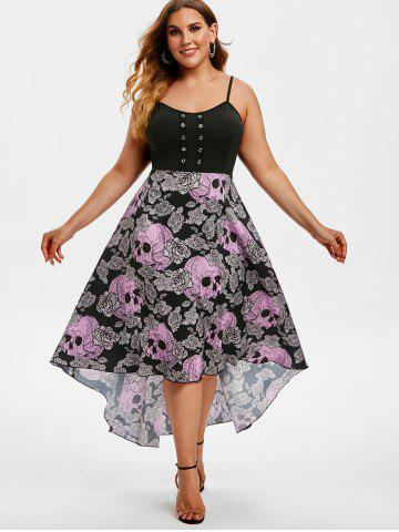 Grommet High Low Floral Skull Halloween Plus Size Dress