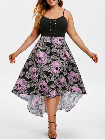 Grommet High Low Floral Skull Halloween Plus Size Dress - PURPLE - 1X