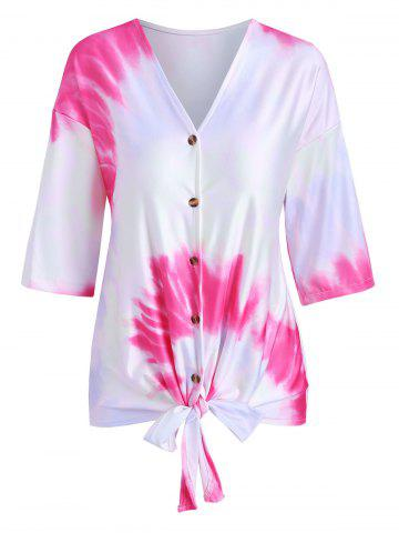 Tie Dye Print Knotted Button Up T-shirt