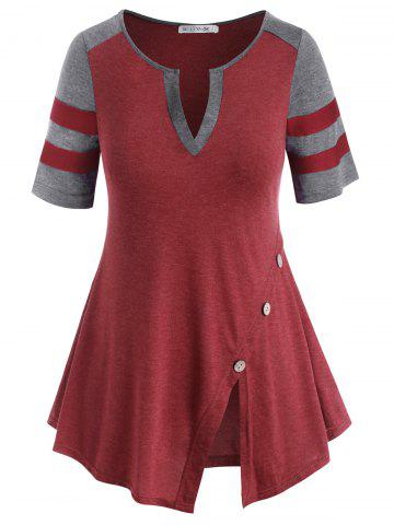 V-notched Buttoned Colorblock Stripes Panel Plus Size Top - RED WINE - L