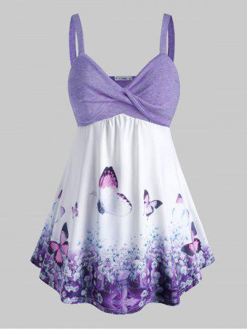 Plus Size Butterfly Print Front Twist Tank Top