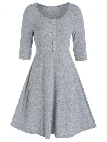 Plain Henley Knitted Mini A Line Dress