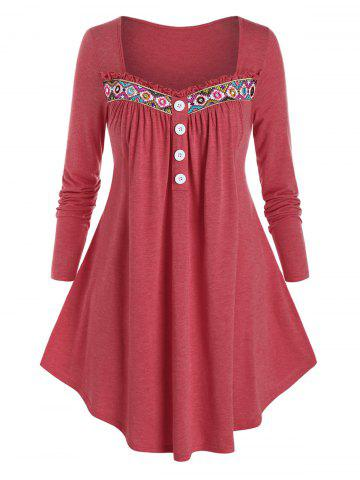 Plus Size Frilled Ethnic Embroidered Long Sleeve Curved Tee - VALENTINE RED - 5X