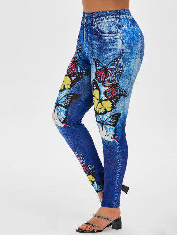 Plus Size Butterfly 3D Jean Print Jeggings