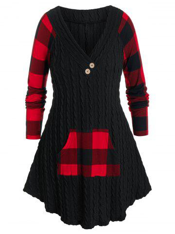 Plus Size Cable Knit Plaid Kangaroo Pocket Curved Sweater - BLACK - 2X