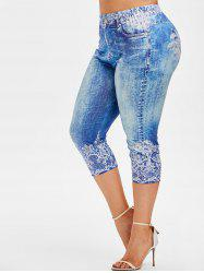 Plus Size 3D Denim Print Capri Jeggings -