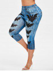 Plus Size Bats Print Halloween Capri Jeggings -
